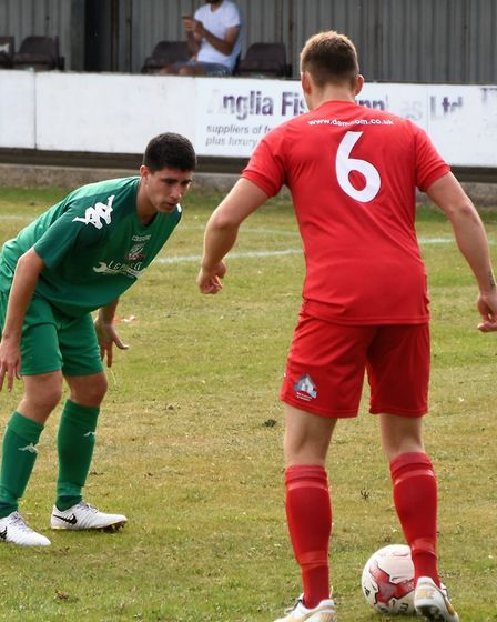Ely City in action during their opening day victory at Gorleston in the Thurlow Nunn Premier Divisio