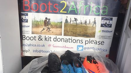 More than 100 pairs of sports shoes have been donated by the people of Ely to the Boots2Africa schem