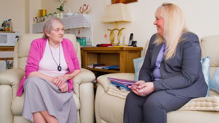 Jubilee Court in March is rated 'Good' by CQC inspectors. Maureen Almond (left) chatting with head o