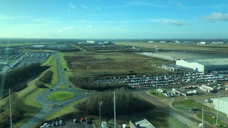 The view from the air traffic control tower at Stansted Airport.