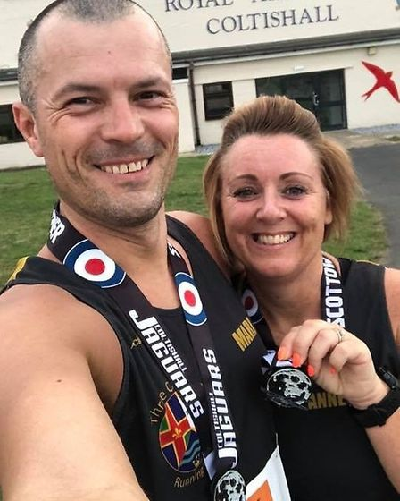 TCRC duo Mark and Anne-Marie Mattless took part in the Scottow Sundowner 5k at RAF Coltishall, recor