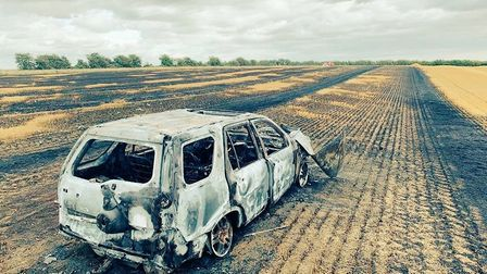 Hare poachers torched their car and set alight a field in South Cambridgeshire yesterday (August 11)