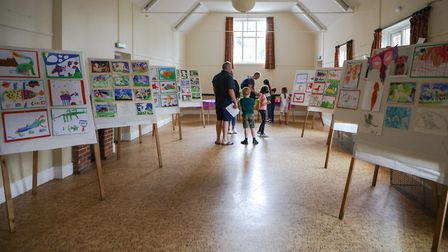 Dragon artwork by the children of Rickling School on display in the village hall. Picture: CELIA BAR