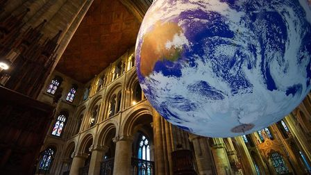 Official opening of Luke Jerram's Gaia Earth artwork, which will be suspended under the cathedral's