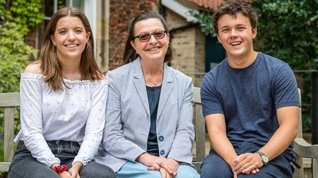 King's Ely principal Sue Freestone, centre, with Heads of School 2019, Maria Campbell and Felix Hawe