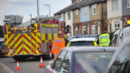 Emergency services on scene at a suspected underground electrical fire on Deerfield Road in March. P