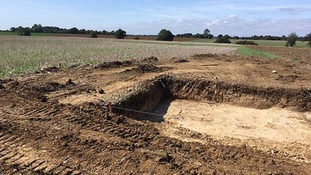 A ditch which has been up in the search for the remains of the missing American airman. Picture: ARC
