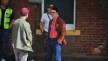The Inbetweeners star Simon Bird was spotted acting out a scene at March Railway Station for a TV ad
