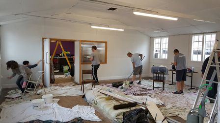 Littleport Brass bandroom gets a makeover. Members busy decorating. Picture: LYN GUEST-DE SWARTE.