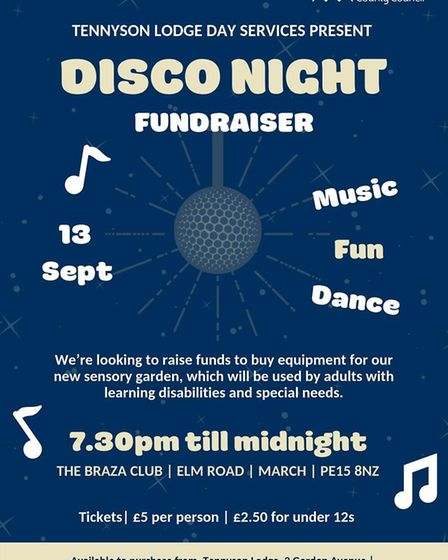 Tennyson Lodge Day services based in March, are hosting a family disco night on Friday September 13