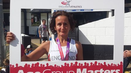 Toni Alcaraz while representing England Masters in the Maidenhead Half Marathon. Picture: SUBMITTED