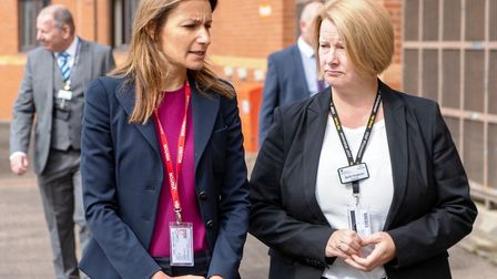 Whitemoor Prison: Prisons minister Lucy Frazer (left) on a visit to the March prison. Accompanying h