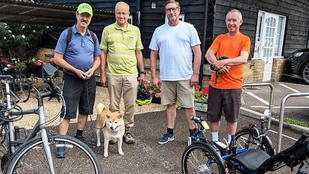 Mayor James Palmer (third left) on a recent cycle ride between Shepreth and Cambridge rail stations