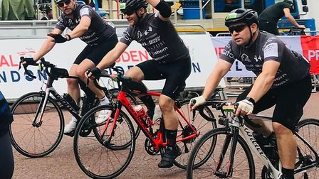 The three dads completed the 100 mile race in under six hours. Picture: CONTRIBUTED