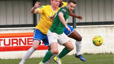 Sam Mulready scored one of the Soham Town Rangers goals as they beat Felixstowe & Walton. Picture: R