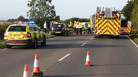 A driver was taken to hospital after their car ended up in a ditch on the A141 at Wimblington this m