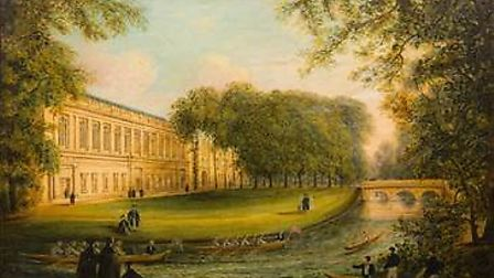 Two oil paintings of Trinity College in Cambridge, by the 19th century artist Richard Bankes Harrade