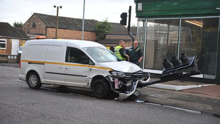 The scene on High Street, March on Wednesday morning (September 4) where a van ploughed through the