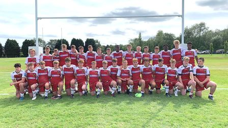 King's Ely student Harry Hall represented Northampton Saints Academy (pictured) at Rugby Football Un