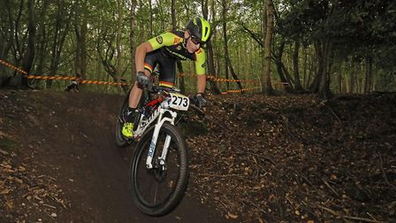 Mikie Burrell in the Mud Sweat and Gears MTB XC race