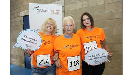 Lesley Gordon with her mum Joan Chapman and daughter Steph Gordon in 2015 on a charity walk for Alzh
