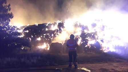 Fire crews remain at the scene of a blaze in Hod Hall Lane, Haddenham more than 12 hours after 1,000