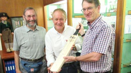 A special signed cricket bat was donated to March Museum by members of The Neale-Wade Association. P