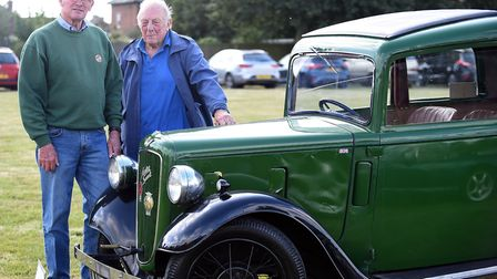 Pictured is Edward Rayment and Peter Bond. Classic cars on display at the Christchurch recreation gr