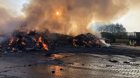 Photos of the fire at a waste processing plant in Waterbeach owned by Amey Cespa. Picture; CAMBS FIR