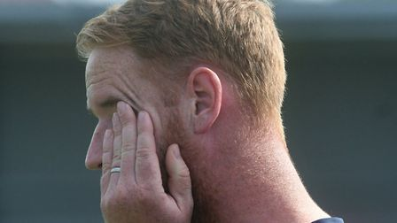 Ely City boss Brady Stone saw his side suffer a cruel defeat against Newmarket Town. Picture: IAN CA