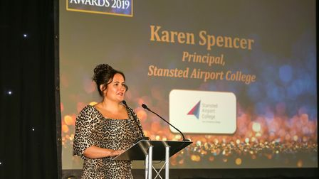 Stanstead Airport College principal Karen Spencer speaks at the Uttlesford Business Awards 2019. Pic
