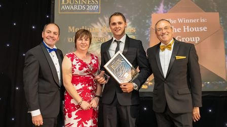 Medium Business of the Year Winner The House Group at the Uttlesford Business Awards 2019. Picture: