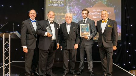 Retailer of the Year Winner Geoffrey Parker Games Ltd at the Uttlesford Business Awards 2019. Pictur