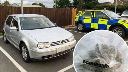 The driver of this Volkswagen Golf made off from a police car in Chatteris only to be boxed in by an