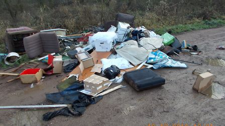 Part of the rubbish dumped in Whittlesey by Peterborough businessman. Fenland Council finally caught