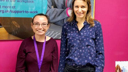Lucy Frazer MP meets team at Ely charity shop. Lizzie Felton, Scope volunteer with Ms Frazer MP. Pic