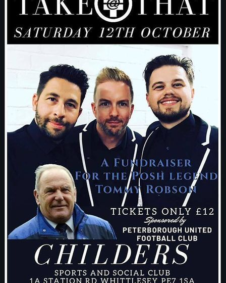 Take That! A fundraising music night will be held in Whittlesey at Childers on Saturday, October 12