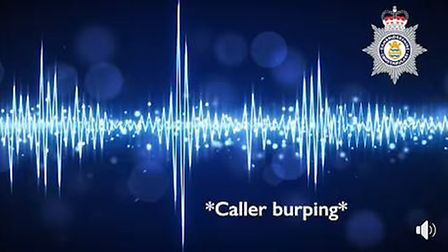 A man has been recorded burping down the line during a 999 call to emergency services in Cambridgesh