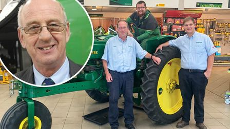 The tractor rally in memory of Steve Trostler (inset) who lost his life in a car accident this year