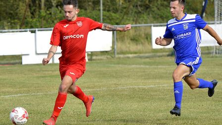 Matty Simpson during Ely City's heavy defeat at Godmanchester Rovers. Picture: DUNCAN LAMONT
