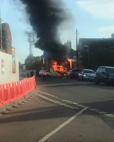The dramatic scene in Whittlesey when an ice cream van burst into flames on a residential street. Pi