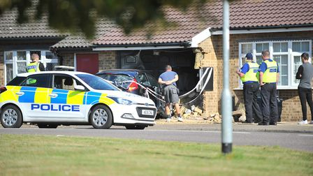 The scene on Cavalry Drive, March after a driver slammed their Ford Fiesta into a homeowner's garage