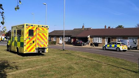 A car has crashed into the front of a house in Upwell Road, March. Picture: HARRY RUTTER