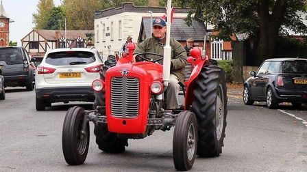 The Ben Burgess Coates tractor rally in memory of late manager Steve Trostler as it heads through Do