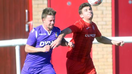Ely City man Luke Crisp in action against Norwich United. Picture: IAN CARTER