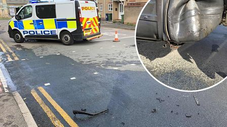 The crash scene on Stonald Road in Whittlesey where a tank of diesel was spilled all over the road.