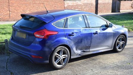 A picture of Daniel Tilley's car, and the damage it sustained after colliding with motorcylist Steve