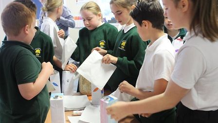 Michael Recycle spreads the recycling message around East Cambridgeshire schools. The project was la