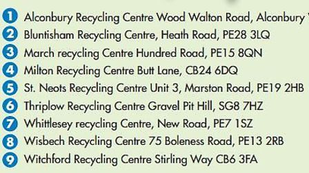 Where Cambridgeshire County Council has its household recycling centres
