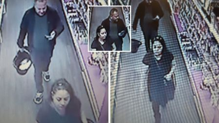 CCTV images of the suspected thieves in Superdrug stores in March and Wisbech. Pictures: Supplied/Ca